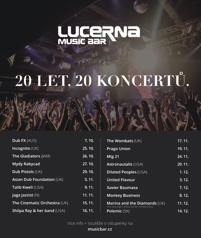Oslavte 20. narozeniny Lucerna Music Baru